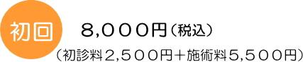 初回料金8,000円(初診料2,500円+施術料5,500円)